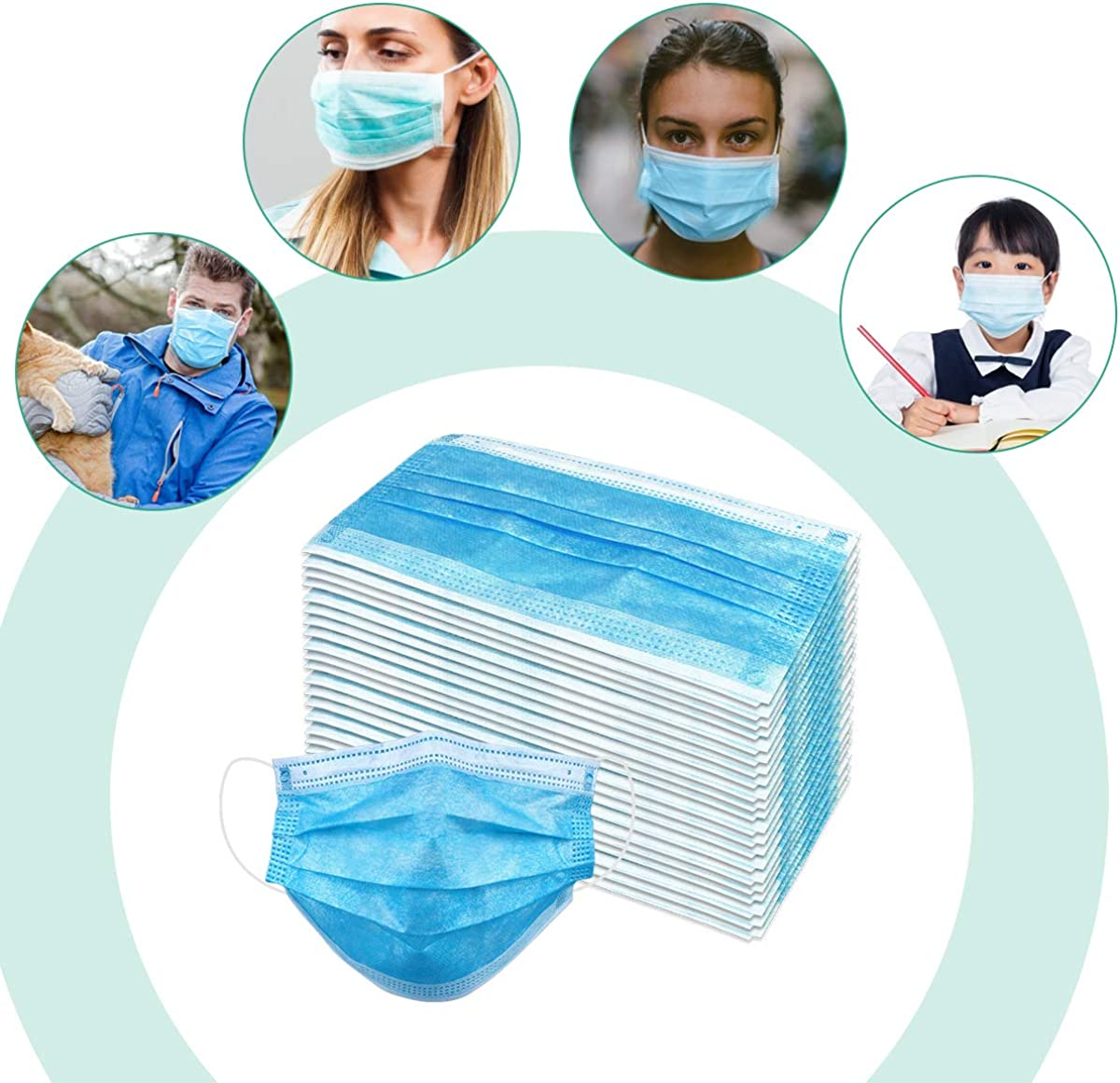 Wecolor Pcs Disposable 3 Ply Earloop Face Masks, Suitable for Home, School, Office and Outdoors (Blue)