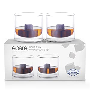 Eparé Insulated Whiskey Glass Set (9 oz, 180 ml) – Double Wall Thermal Old Fashioned Tumbler – Rocks Cup for Drinking Bourbon, Vodka, Scotch, Cocktails – 2 Low Ball Glasses