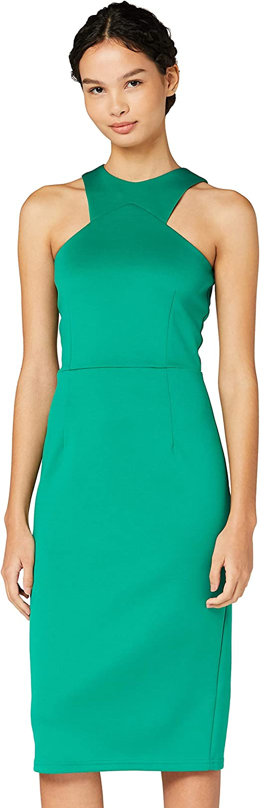 TALLA 40 (Talla del Fabricante: Medium). Marca Amazon - TRUTH & FABLE Vestido Mujer Asimétrico Verde (Green) 40 (Talla del fabricante: Medium)