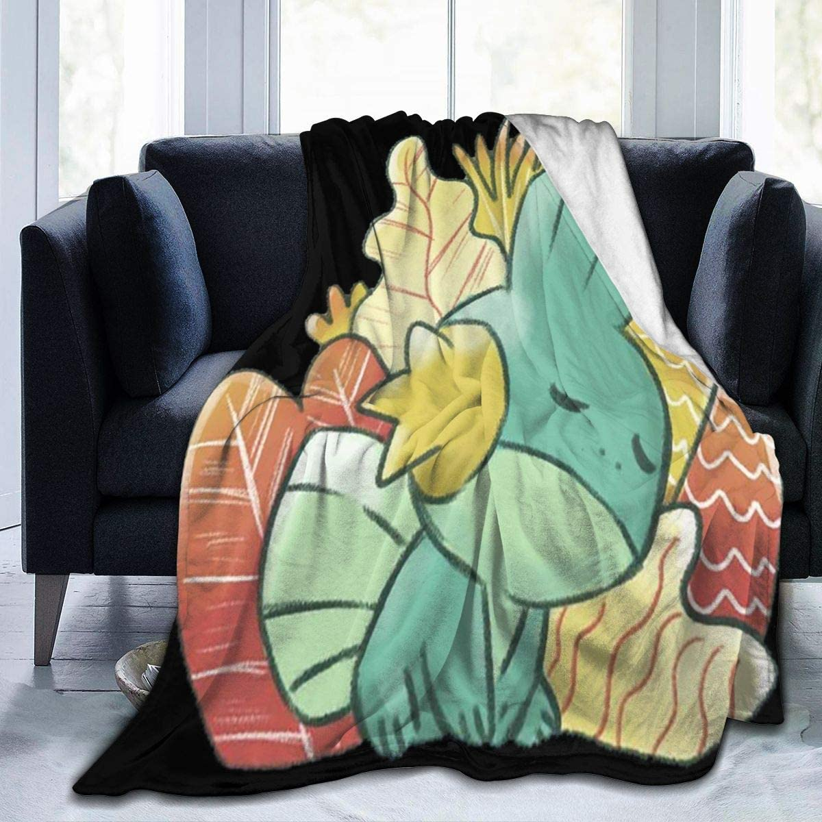 Poke-mon Sleeping Mudkip Fleece Blanket Ultra-Soft Lightweight All Seasons Fit Bed Couch Chair Office Flight and Outdoors