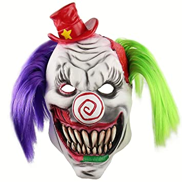 HRTYASKXCH Halloween Zombie Head máscara Scary Death Red Cap Pelo de  Colores Máscaras de Payaso Horrible b81a83c722c6