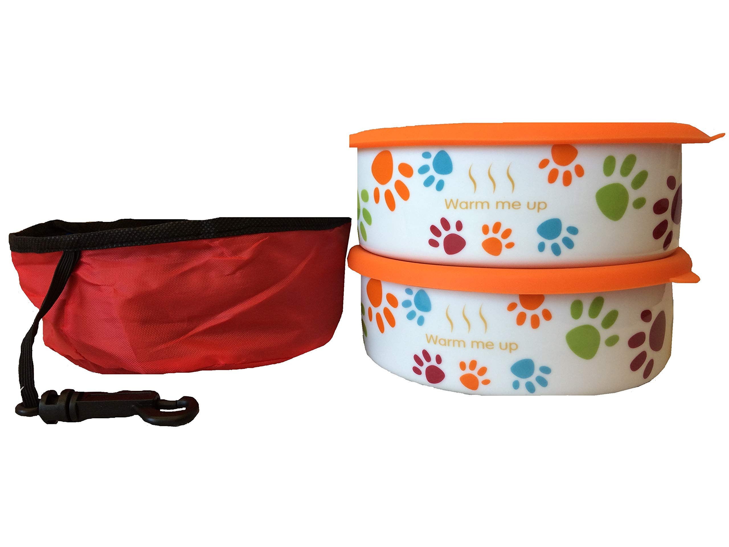 2 Dog/Cat Bowls with Lid Plus a Free Pet Travel Bowl. This Pet Dish Set is FDA Approved Porcelain Material+ airtight Storage lid Plus Collapsible Pet Travel Bowl for Dog cat Food or Water by Quality Line Pet Products