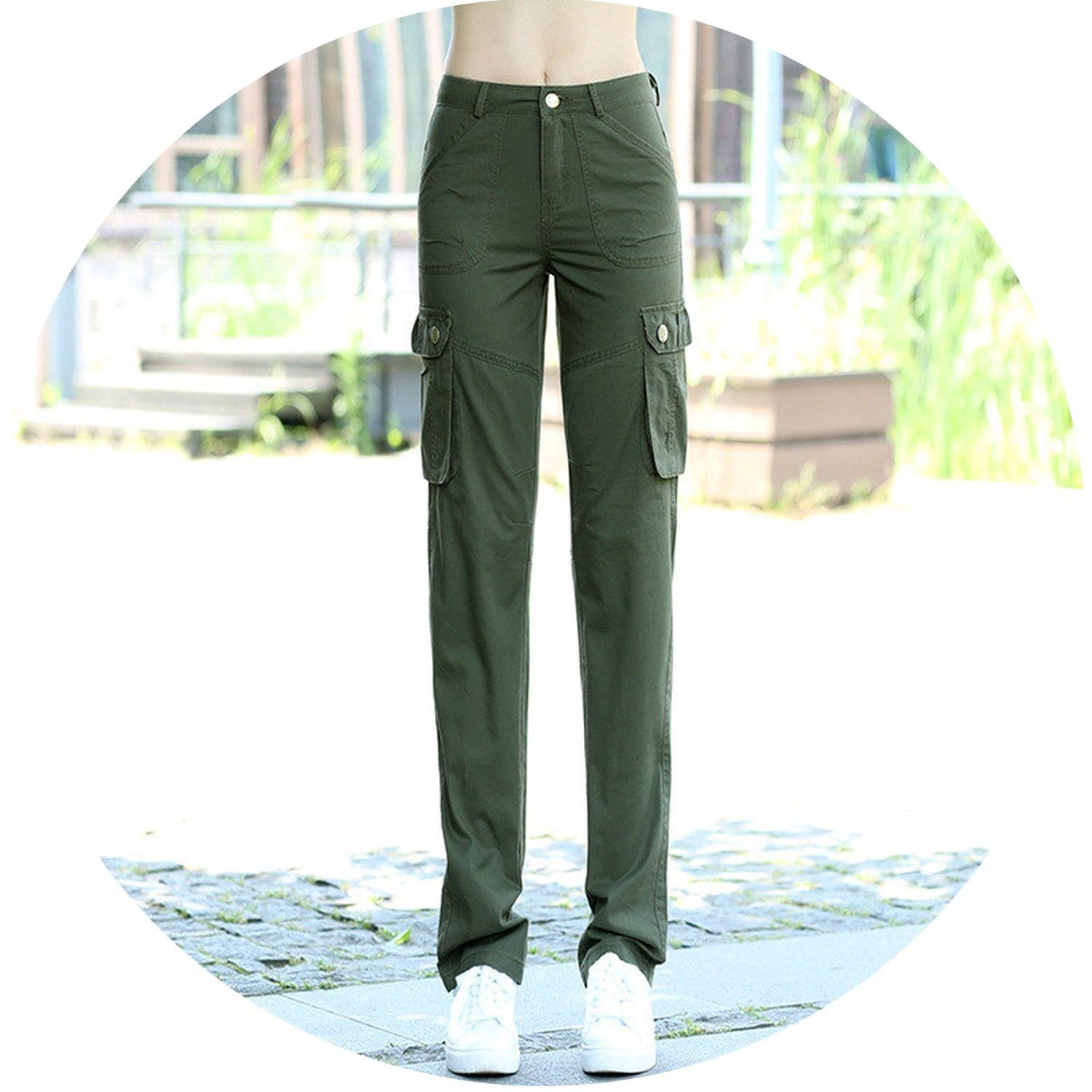 104 army green Pockets Military Pants Women Spring Summer Casual Trousers Women Sweatpants