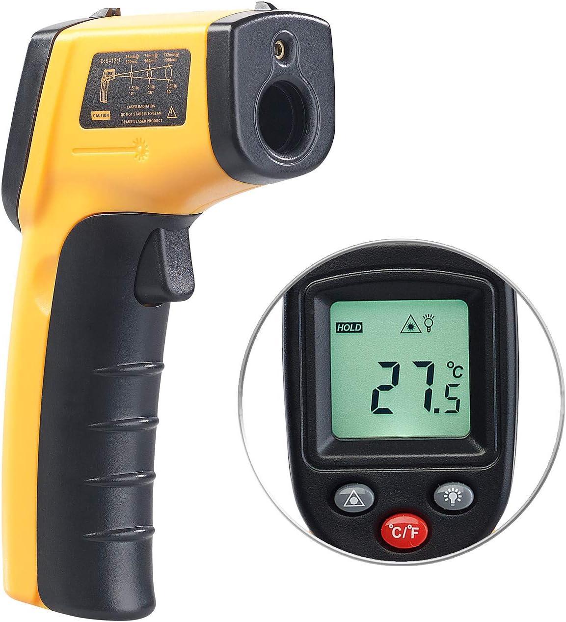 AGT temperatura Dispositivo de medición: Termómetro infrarrojo sin contacto con puntero láser, -50 hasta +380 ° C (IR termómetro)