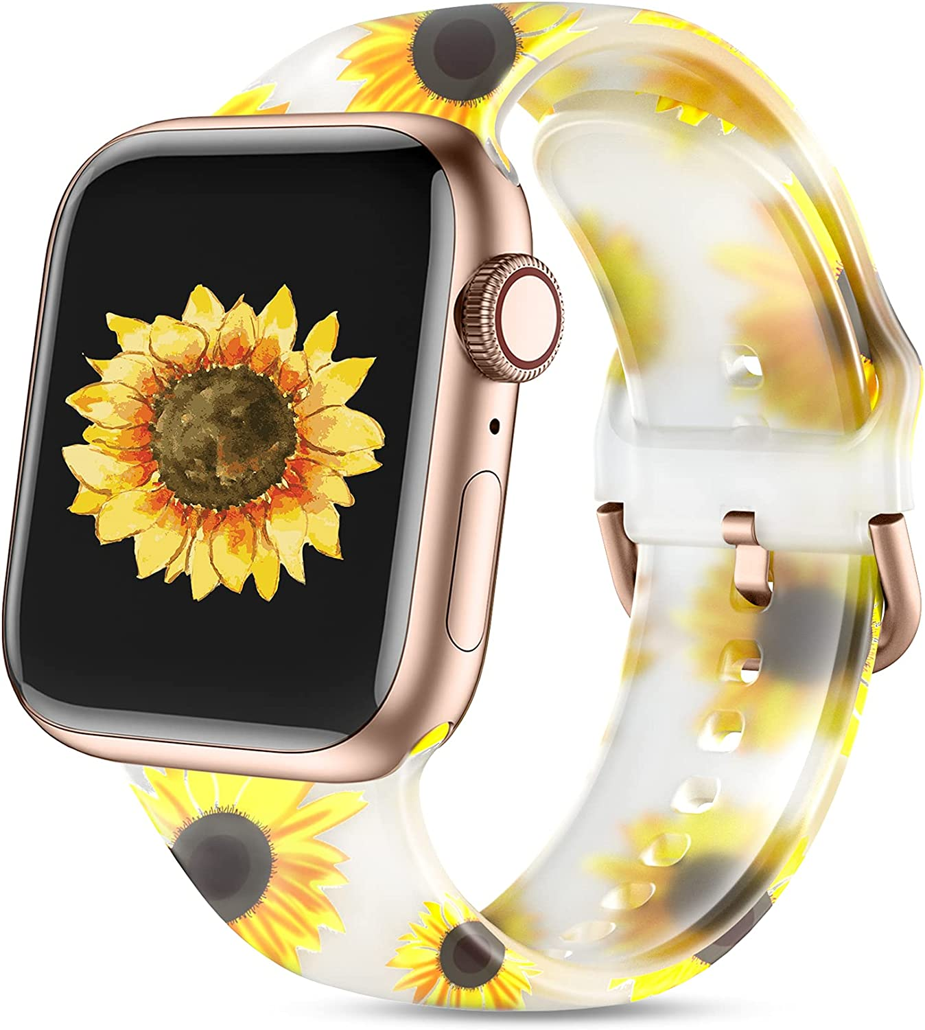 Witzon Cute Transparent Bands Compatible with Apple Watch Band 40mm 38mm iWatch Series 6/5/4/3/2/1/SE for Women Men Girls, Fadeless Floral Printed Silicone Sport Replacement Wristband