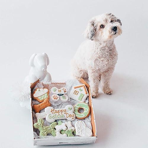 W fers Gotcha Day Cookie Box Handmade Hand-Decorated Dog Treats Cookies Box, 10 Cookies