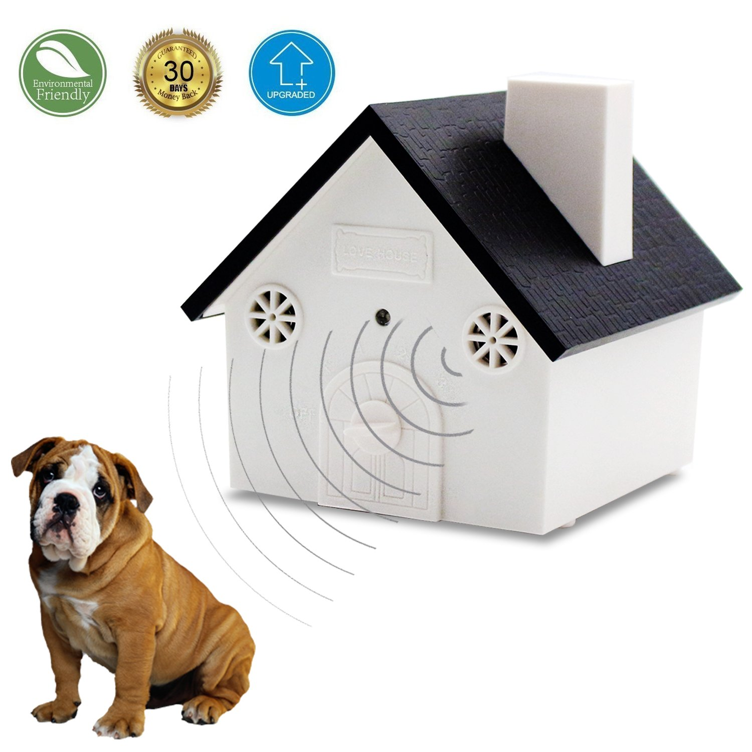 Ultrasonic Outdoor Anti-Bark Controller Sonic Bark Deterrent, No Harm To Dog or other Pets, Plant, Human, Easy Hanging/Mounting On Tree, Wall, Or Fence Post.