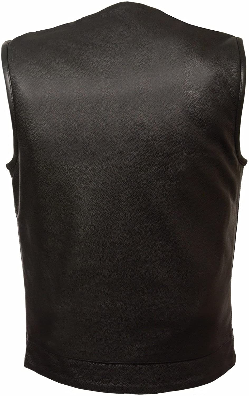 Milwaukee MENS MOTORCYCLE SON OF ANARCHY STYLE BUTTER SOFT LEATHER VEST W//O COLLAR NEW 7XL Regular
