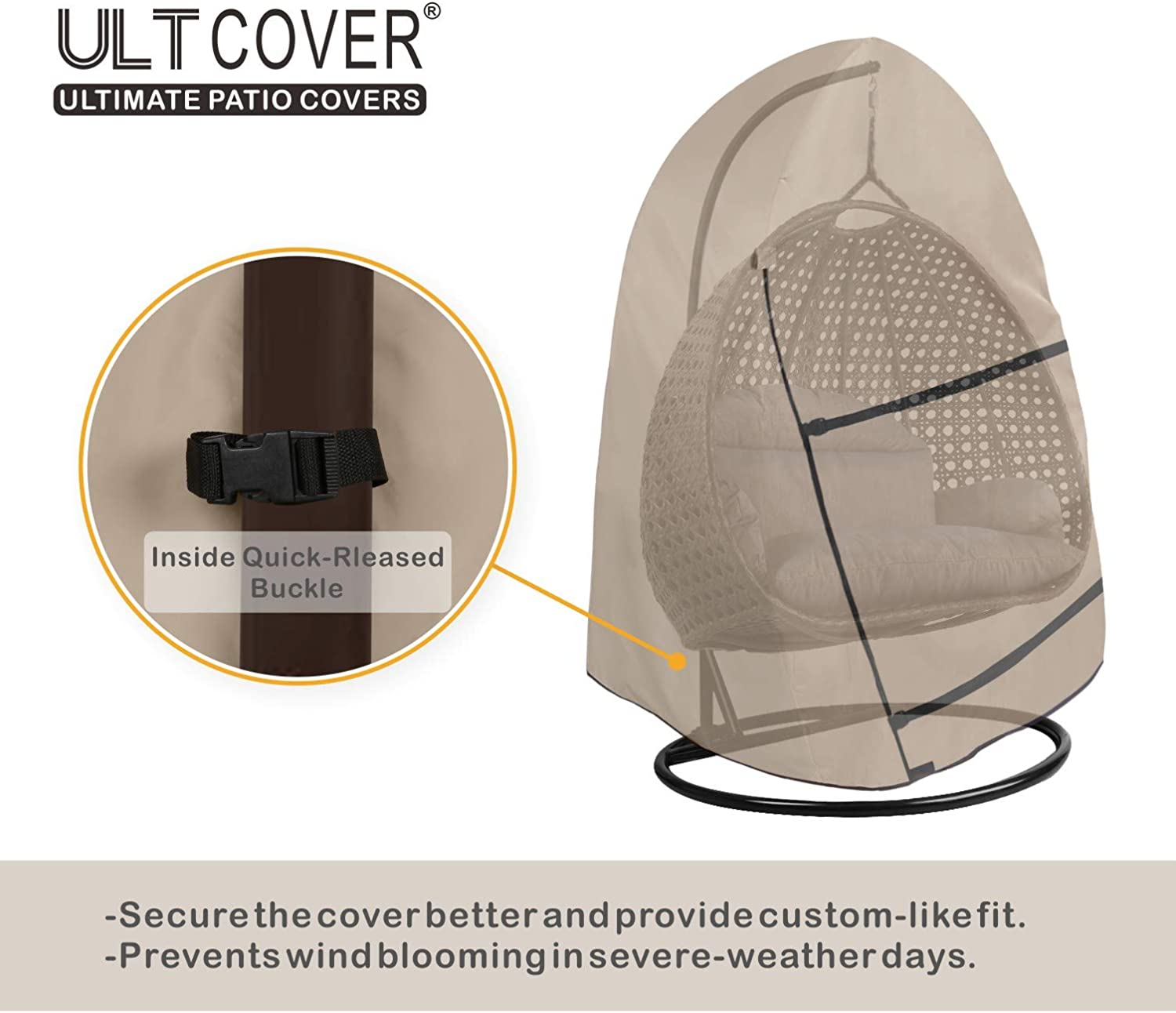 ULTCOVER Patio Hanging Egg Chair Cover Waterproof Outdoor Double Seat Swing Egg Chair with Stand Cover 66W x 43D x 68H inches