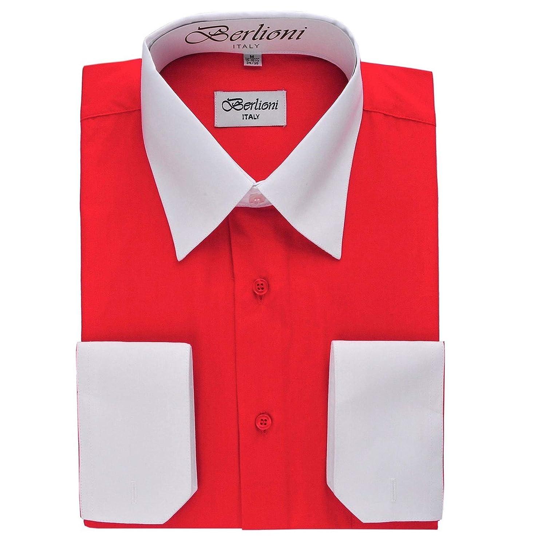White Two Tone Mens Dress Shirt Berlioni Red