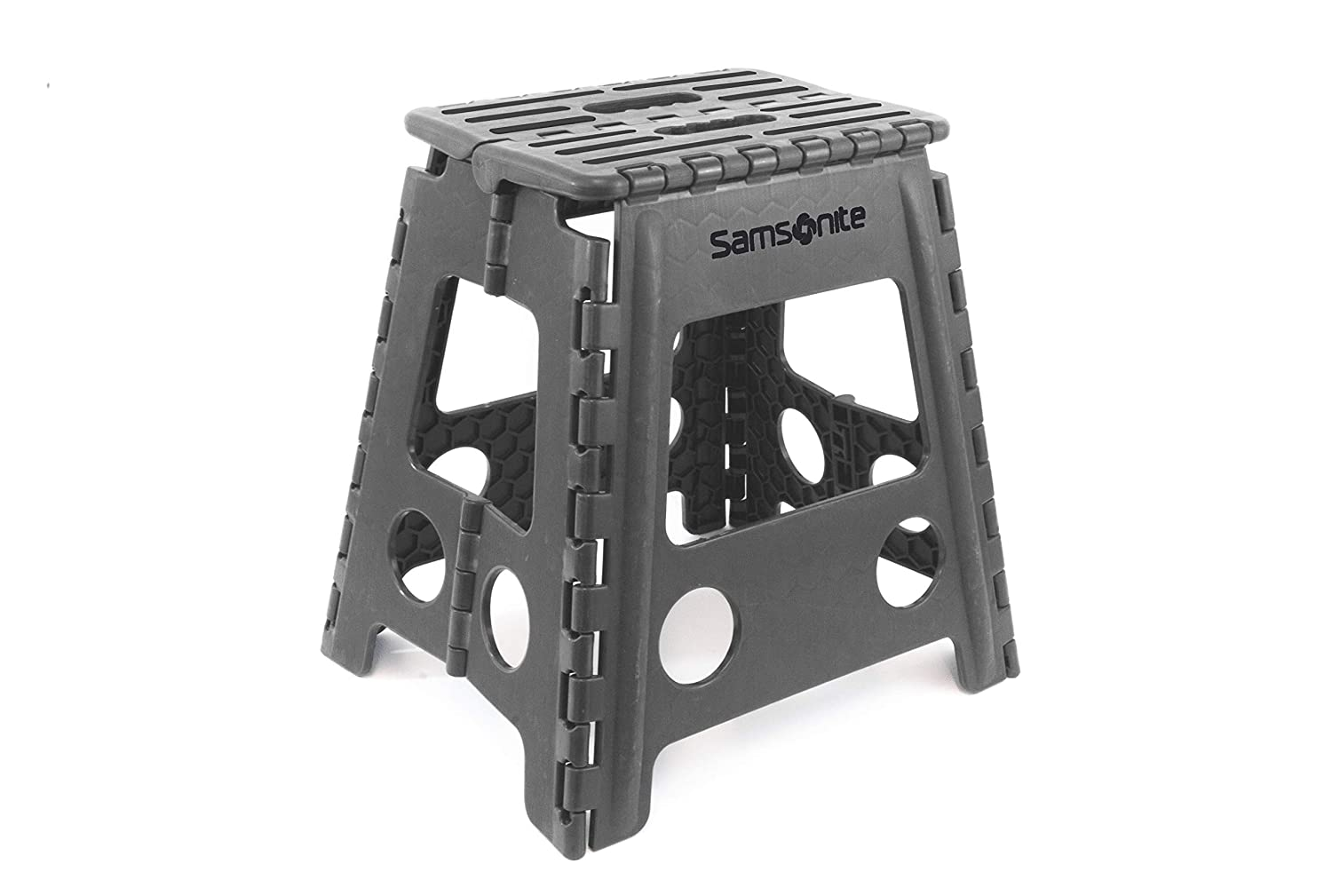 Miraculous Inspired Living Folding Step Stool Heavy Duty 16 High Grey Gamerscity Chair Design For Home Gamerscityorg