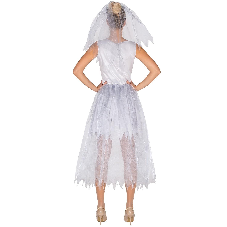dressforfun Vestido para mujer novia esqueleto | Tul en la cintura | Flores cosidas | Velo de tul y flores (M | no. 300059): Amazon.es: Juguetes y juegos