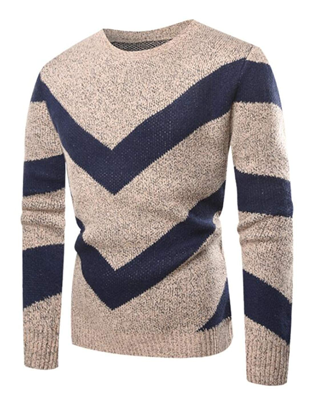 UUYUK Men 3D Hollow Out Crew Neck Contrast Color Pullover Sweaters