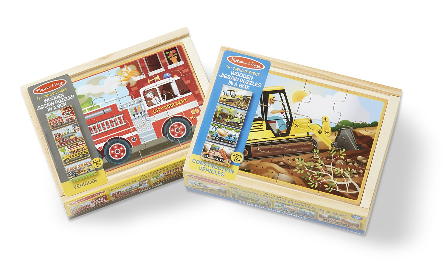 Melissa & Doug Vehicles 4-in-1 Wooden Jigsaw Puzzles in a Storage Box (48 pcs) 3794 Non-Classifiable