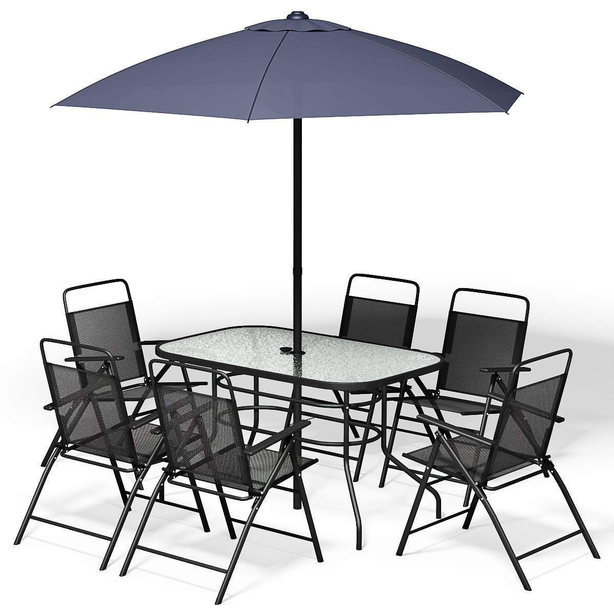 Pleasant Giantex 8Pcs Patio Garden Set Furniture 6 Folding Chairs Table With Umbrella Gray New Machost Co Dining Chair Design Ideas Machostcouk