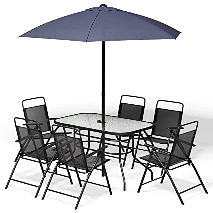 Pleasant Giantex 8Pcs Patio Garden Set Furniture 6 Folding Chairs Table With Umbrella Gray New Pdpeps Interior Chair Design Pdpepsorg
