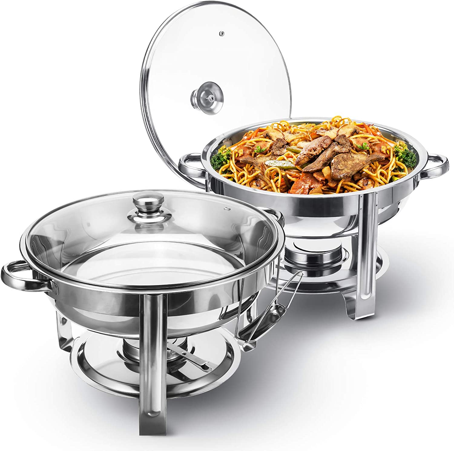 TOOCA Chafing Dish Buffet Set, 2Pack Round Chafers and Buffet Warmers Sets with Glass Lid & Lid Holder Chafing Dishes Stainless Steel Catering Food Warmers For Parties Events Wedding,4-Quart Capacity