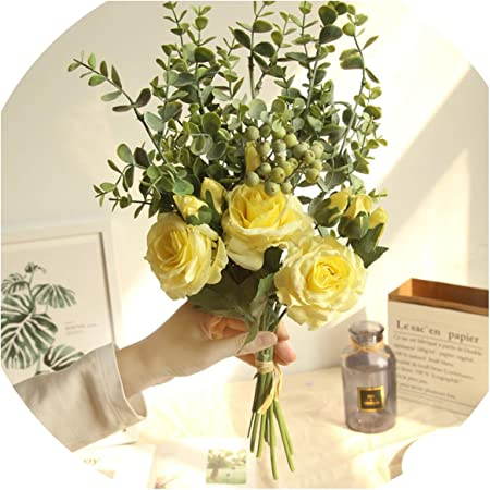 Bb 4 Bride Wedding Bouquet Bridesmaid Rose Eucalyptus Leaves Bouquets Artificial Silk Flowers Wedding Table Center Accessories Yellow Large Amazon Co Uk Kitchen Home