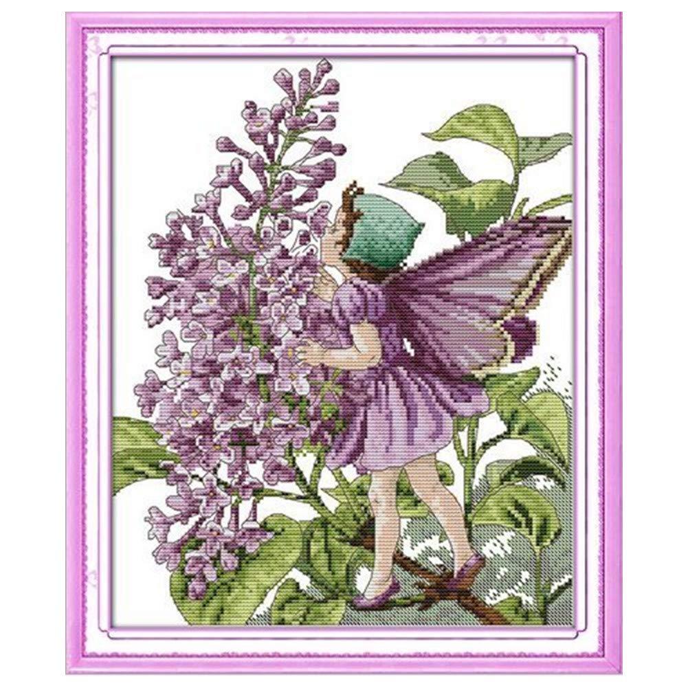 39 cm x 46 cm Cleana Arts impreso de punto de cruz Kits 11 ct de punto de hada color lila 15.21 /× 17.94