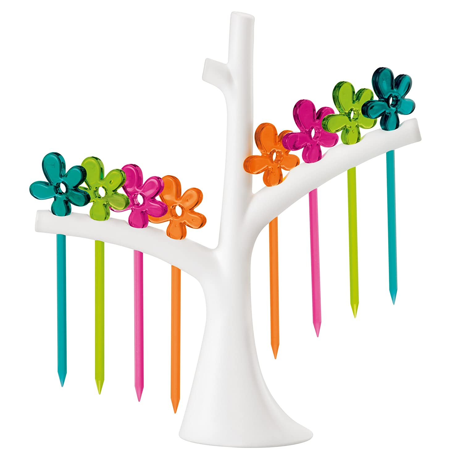 koziol A-PRIL Party Fork Set with Tree Rack, solid olive green/orange/pink Koziol ideas for friends GmbH 3126001