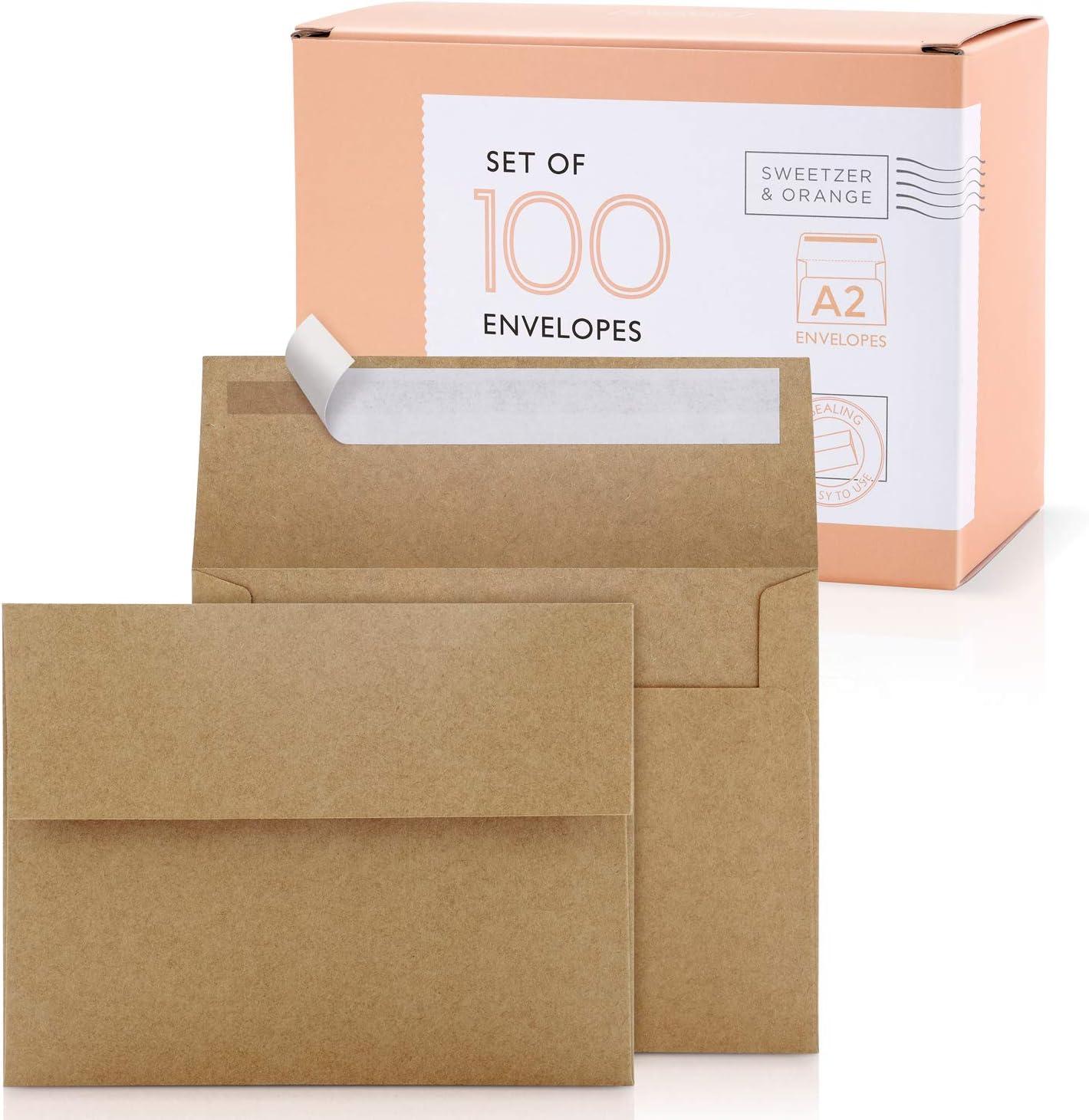 Sweetzer & Orange A2 Envelopes (100 with Box). Brown Envelopes Self Seal. Luxury 150gsm For Greeting Card Envelopes and Invitation Envelopes 4-3/8 x 5-3/4, RSVP Envelopes, Plain Kraft Envelopes.