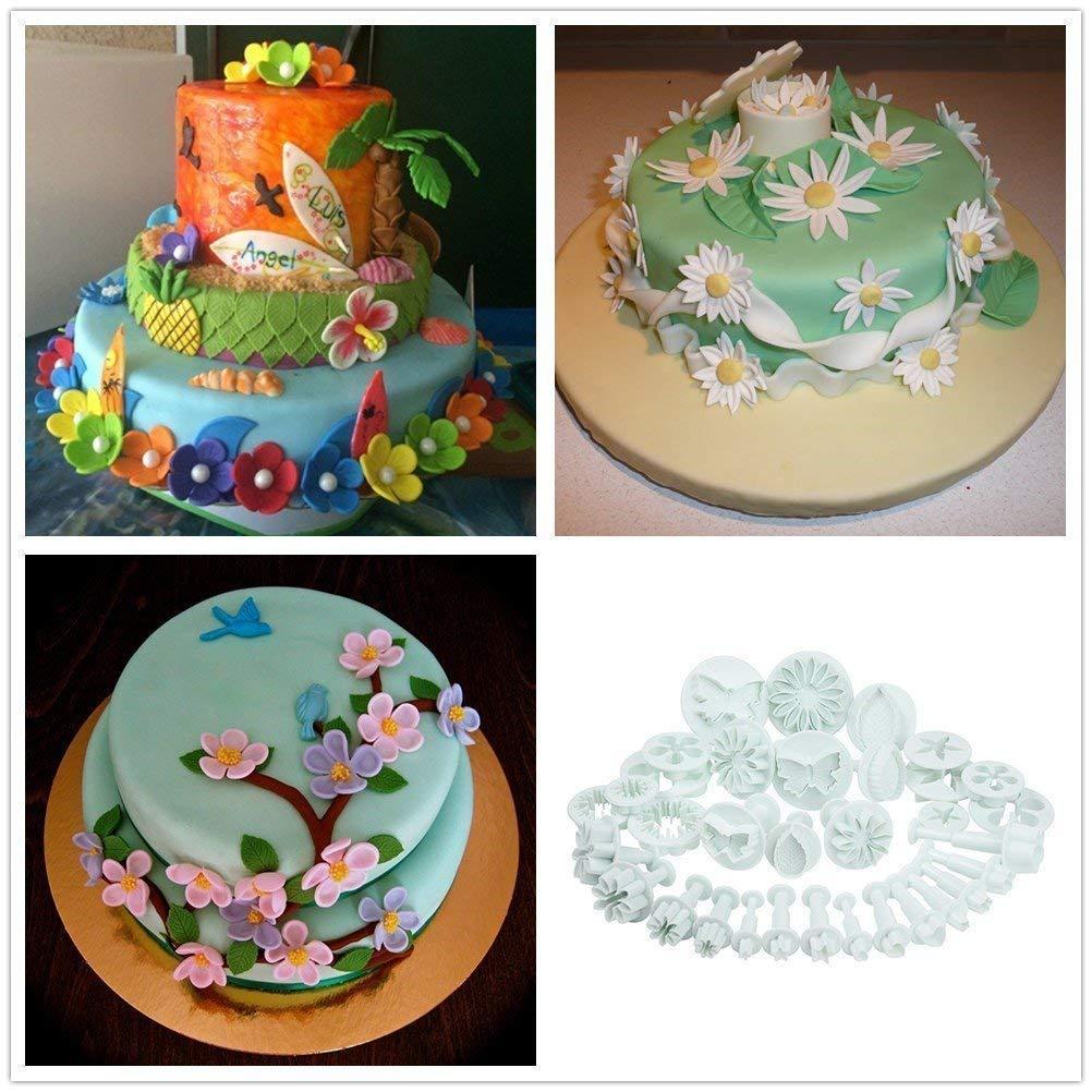Hilai 10/set Sugarcraft cake Decorating fondant stampini a espulsione foglia, fiore, margherita, grande girasole, stella, cuore, farfalla, rosa, calice, garofano e altri