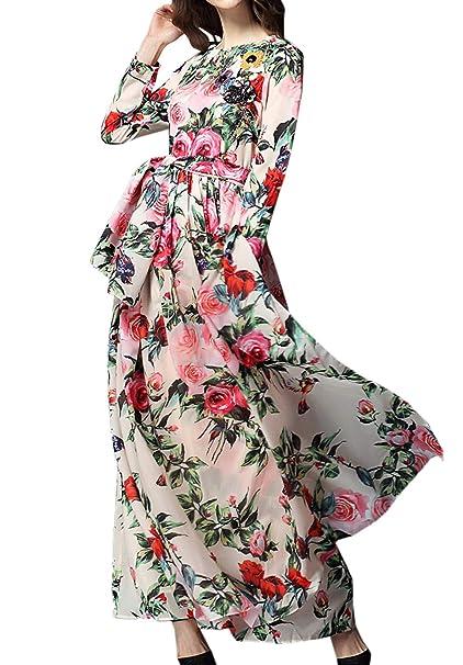 5306ca8ca0 Simple-Fashion Primavera y Otoño Mujeres Maxi Vestidos con Vendaje Elegante  Moda Cuello Redondo Manga Larga Vestidos de Partido Fiesta Casual Impresión  ...