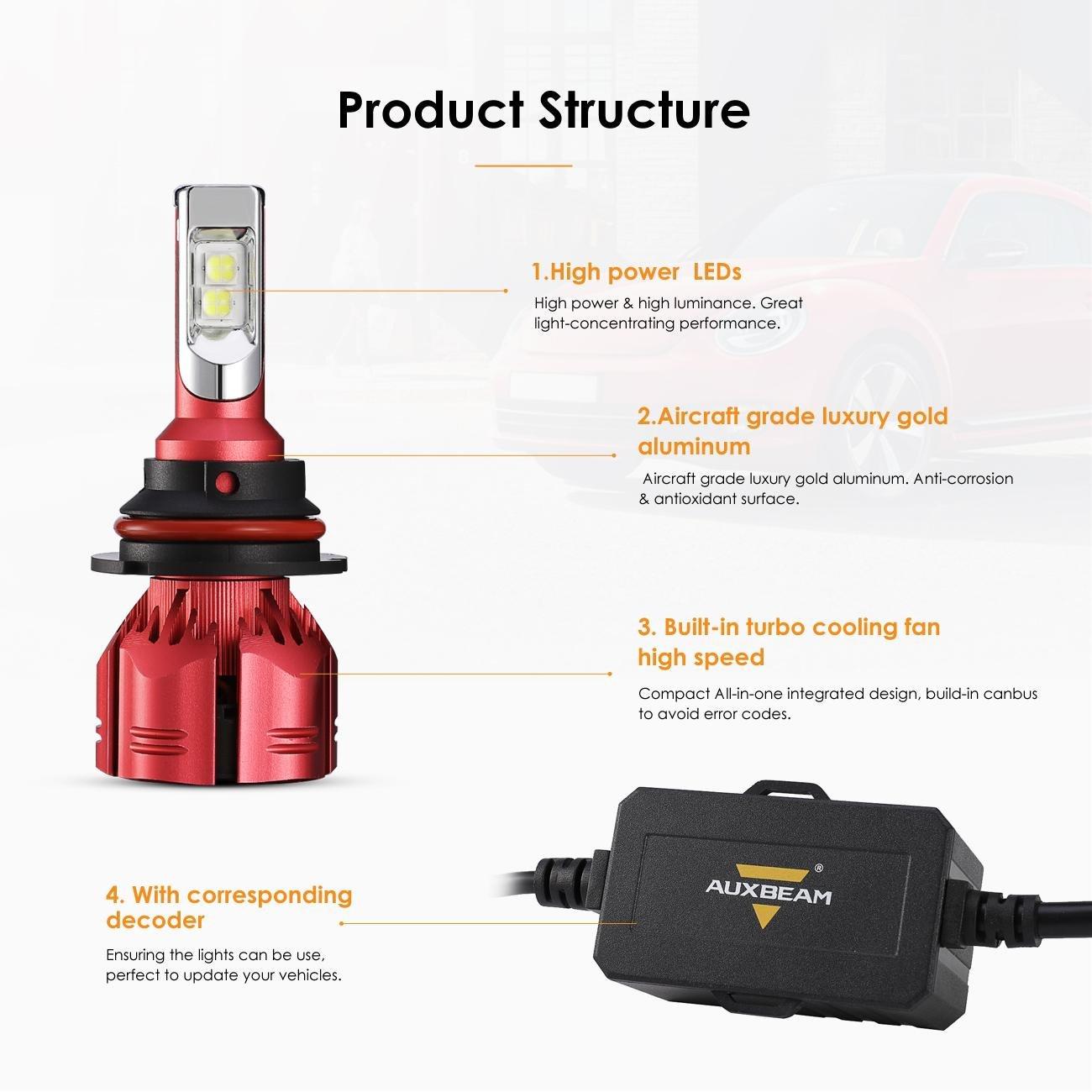 auxbeam 9007 Hi/Lo LED Faro incluida 9007 lámpara 7000 Lumens 70 W 9 - 32 V 6500 K Blanco Super claro Auto Kit Faro para Halógena de Repuesto & HID lámpara ...