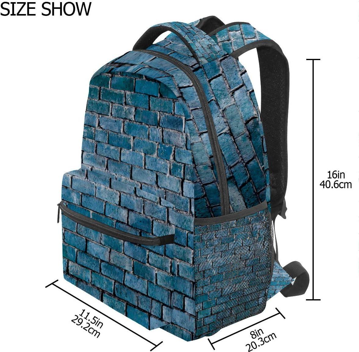 Backpack School Bag Casual Travel Daypack Bookbag,Student Sports Bag Gifts for Men Women Teenage Girl BoyRucksack Blue Brick Wall Background