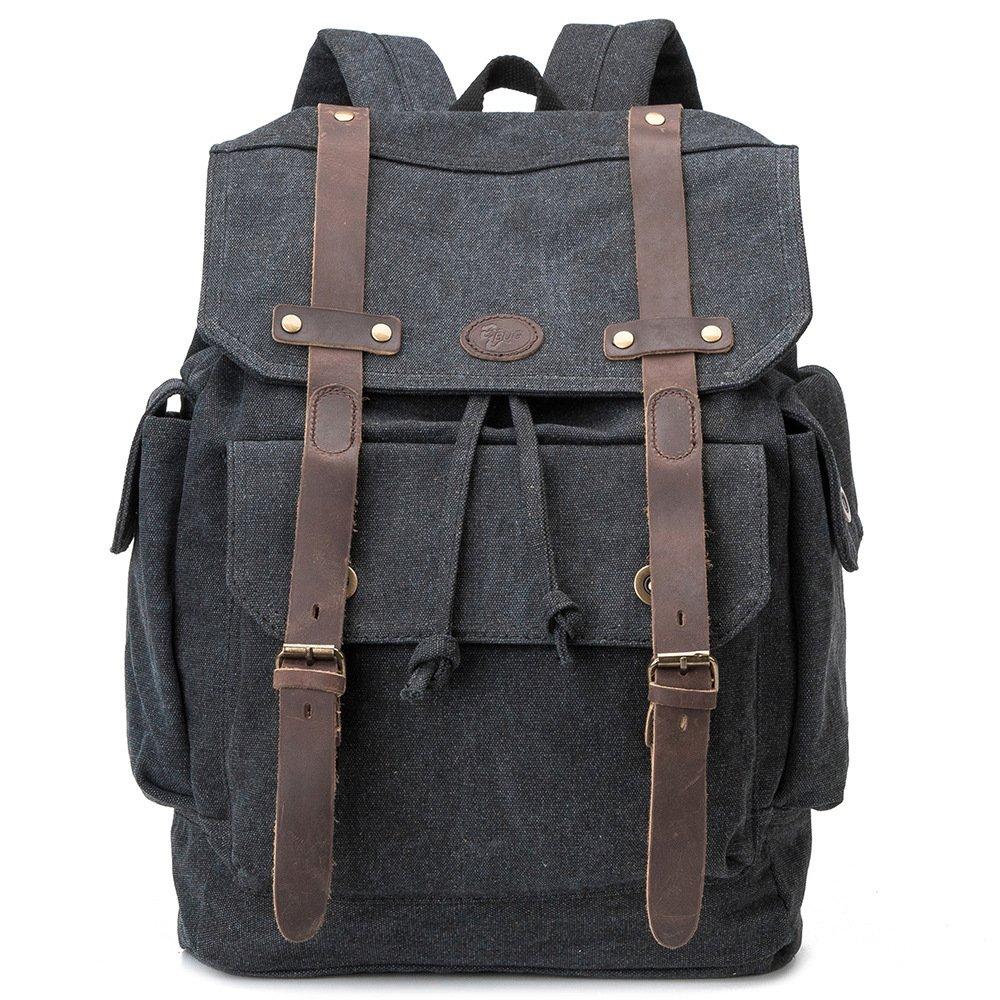 BAGEHUA 若いレトロキャンバスバックパックには、大容量のバックパックのために男性と女性は、耐久性の高いレジャー旅行、ピクニックバックパック、高 46 cm 、幅 32 cm 、厚さ 11 cm 5 色 B076KFDCC2 dark gray dark gray