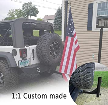 Upgraded Version Hitch Mount Flagpole Holder with Anti-Wobble Screws for Wrangler JK JL Sahara Rubicon /& Unlimited