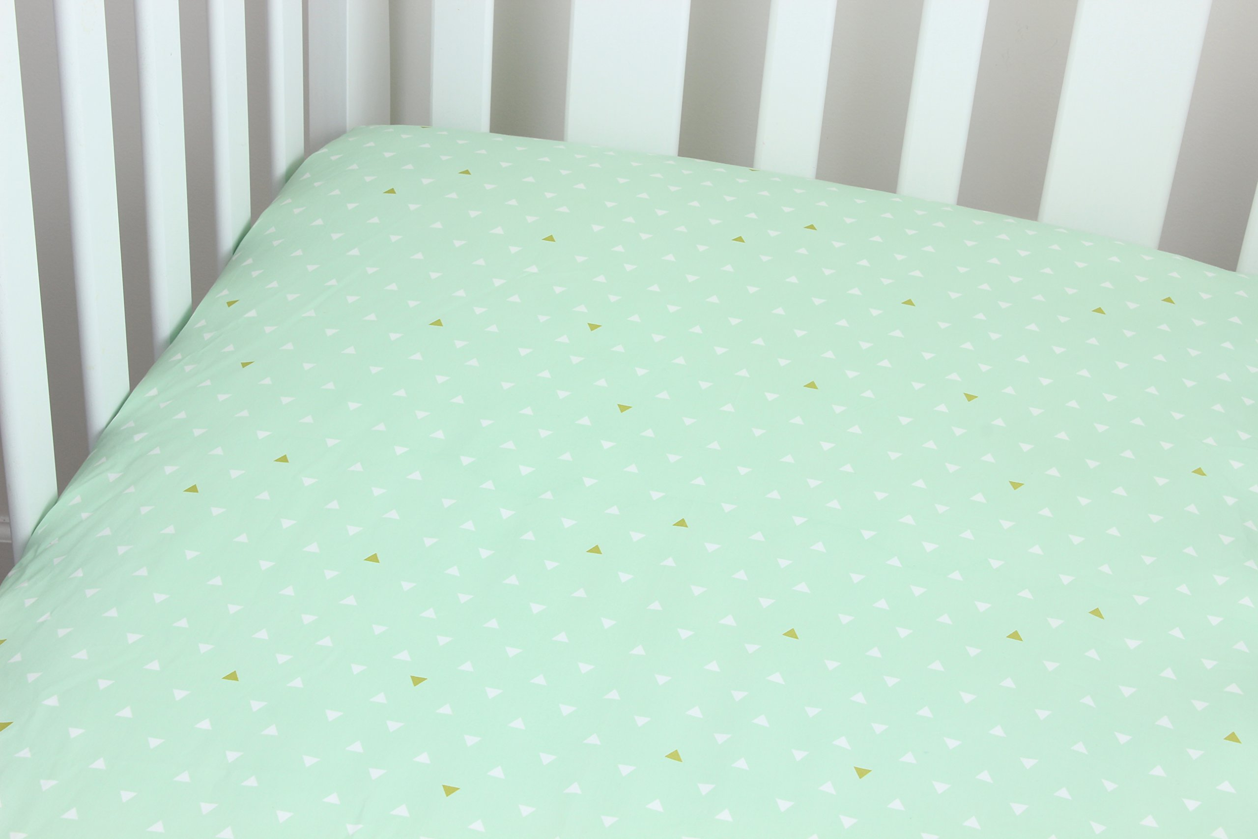 Mint and Gold Triangle Cotton Crib Sheet Southwestern Theme Triangle Tokens Baby Crib Sheet