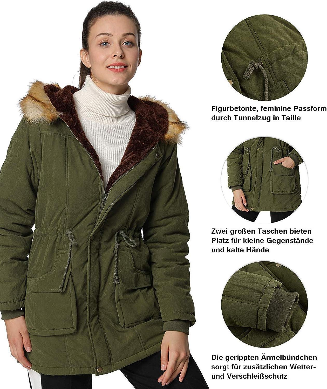 4How Damen Winterjacke mit Pelzkapuze warm gef/üttert /Übergangsjacke Mantel