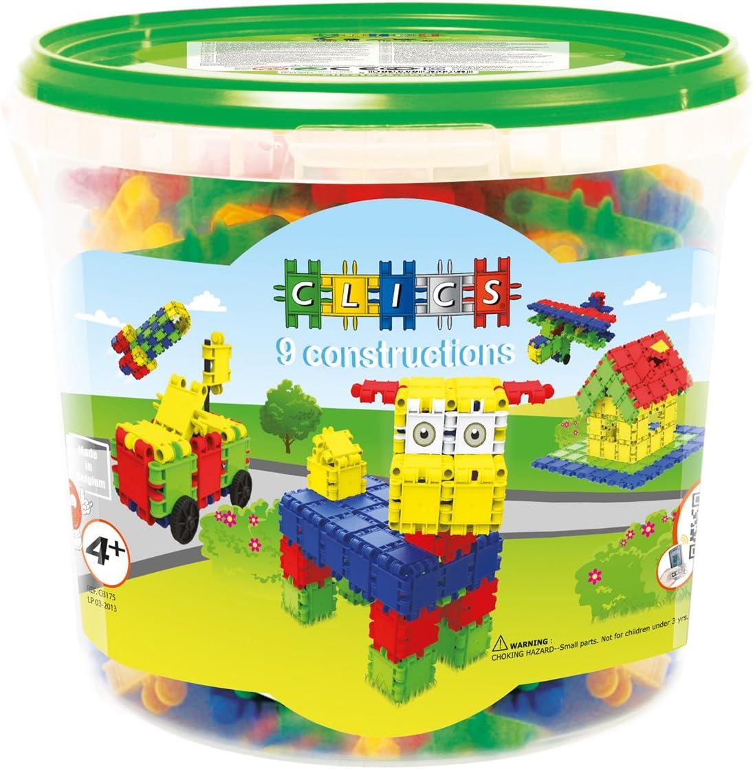 Clics Toys - Cubo de 175 piezas, 9 modelos en 1 (BBM NV CB175) , color/modelo surtido
