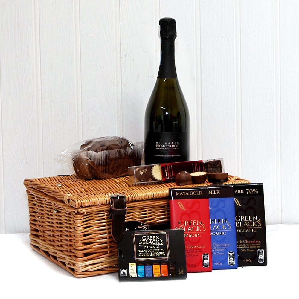 Prosecco Chocolate Lovers Gift Hamper Luxury Wicker Gift Basket