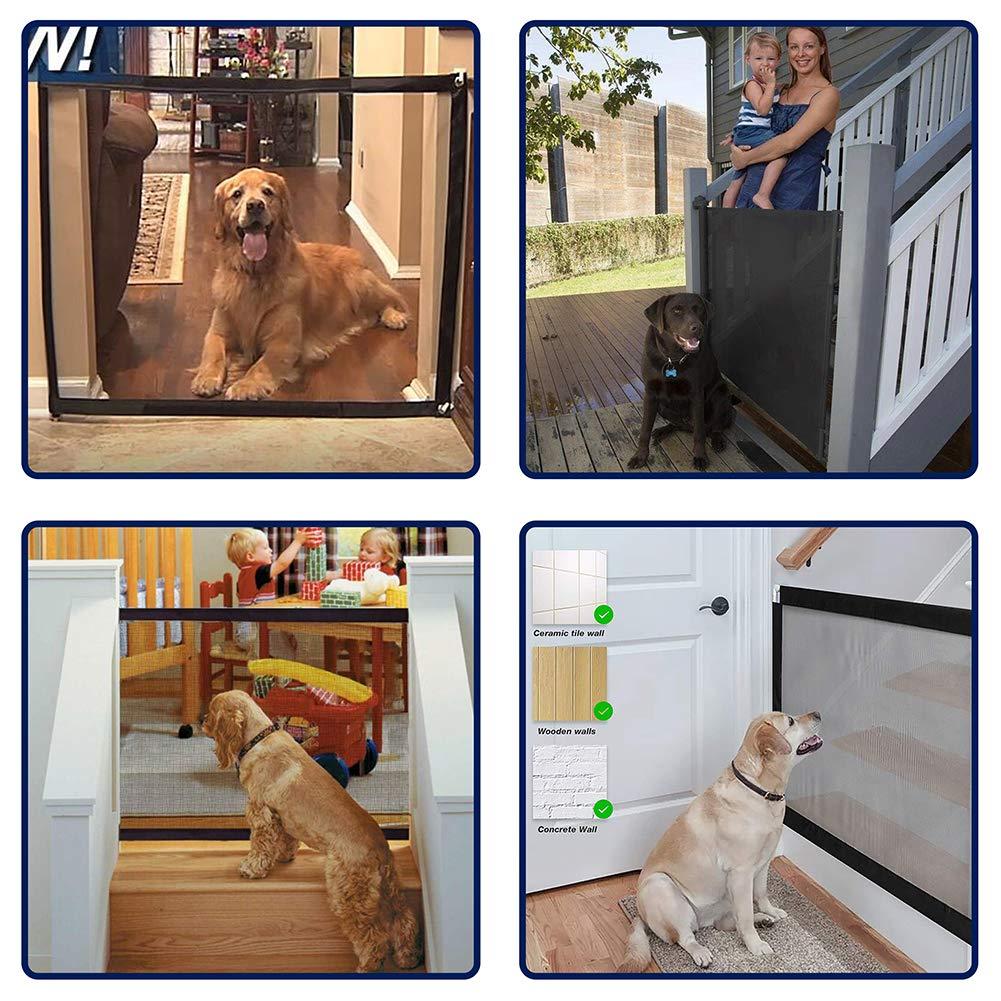 Magic Gate f/ür Hunde Schwarz-II tragbares und faltbares Tor zum Trennen von Baby und Haustieren Magic Gate f/ür Baby mit 8 Klebehaken Kinder umstellbare Schutzgitter