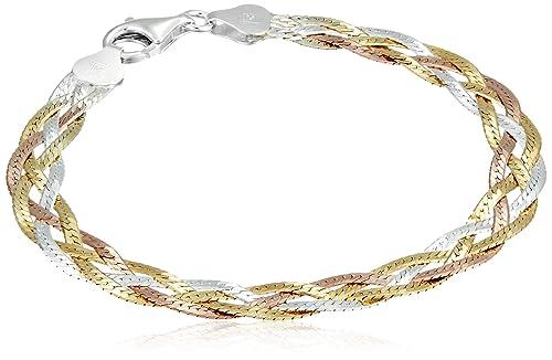 Amberta 925 Sterling 3 Tone Silver 5 mm Herringbone Chain Necklace 18