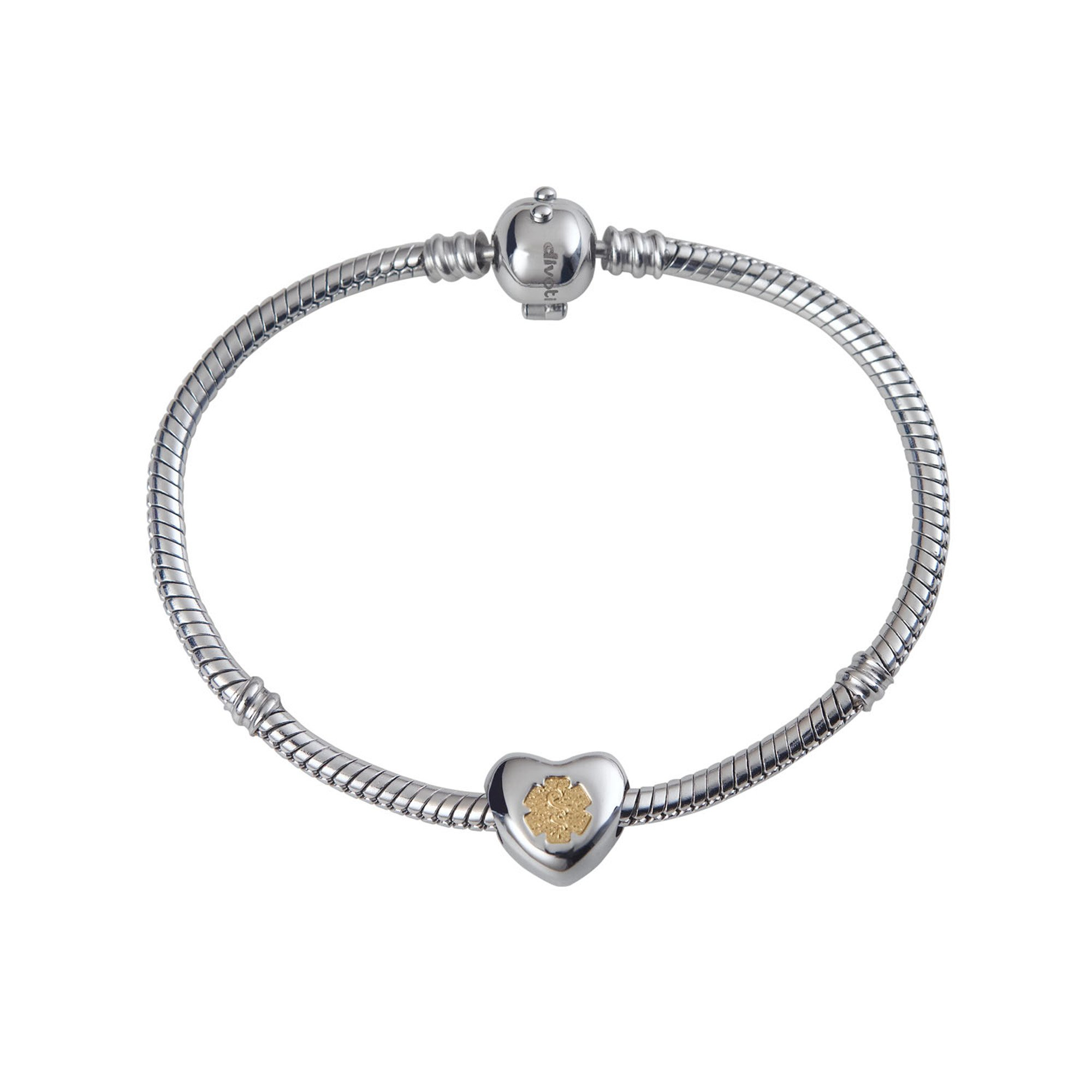 Divoti Custom Engraved DYO European Charm Medical Alert Bracelet for Women -8.0'' by Divoti (Image #1)
