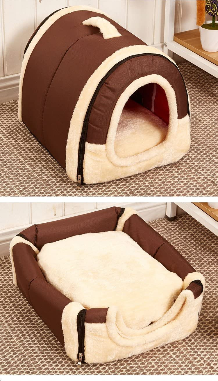 Joycentre Cozy 2-in-1 Pet Igloo Dog Cat Handle Shape Bed Non-Slip Puppy House Kennel Portable Doggy Fashion Cushion Basket Pet Home