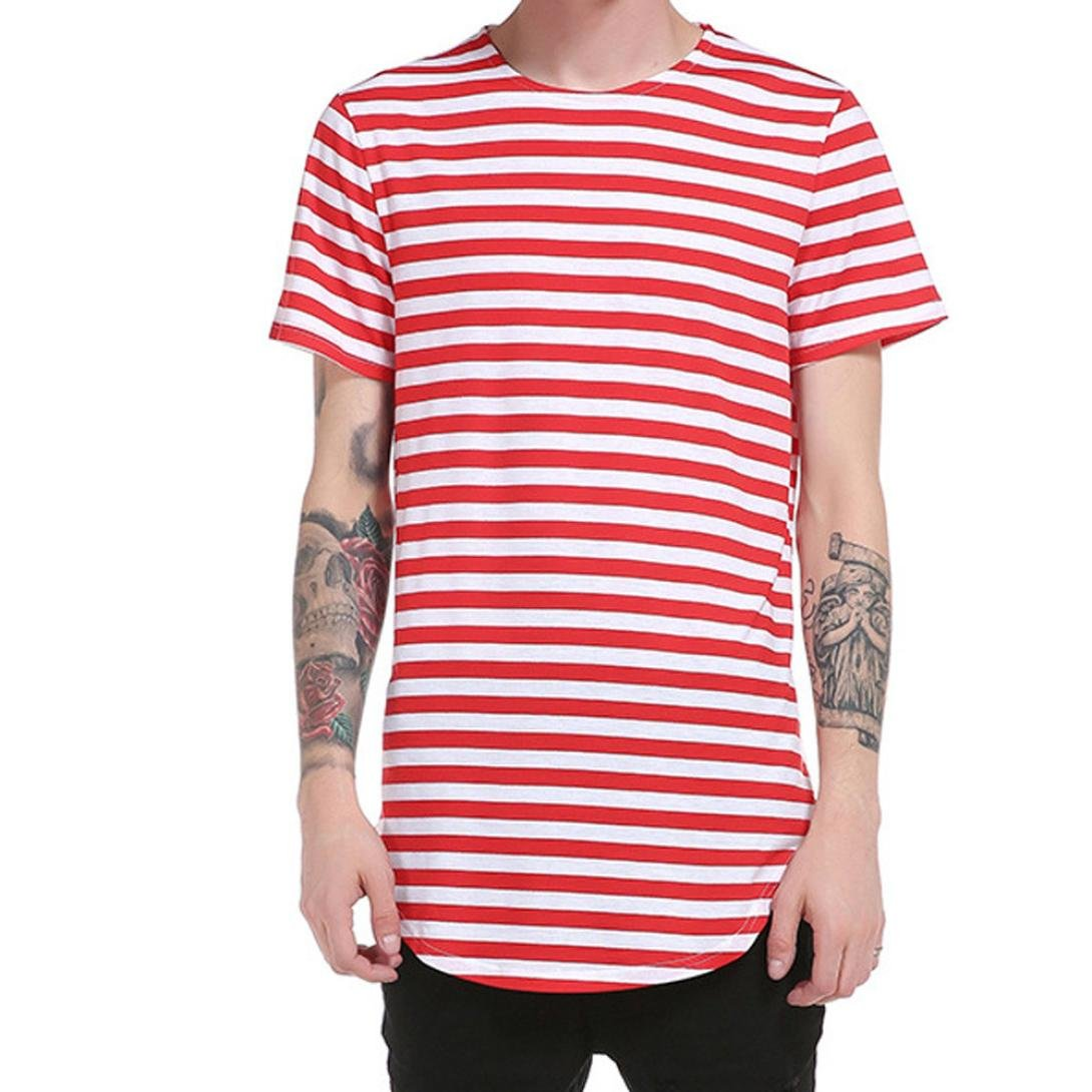 a8ddc4514e3b Bestoppen Men's T Shirts White,Men Summer Short Sleeve Crewneck T Shirts  Plus Size Tops Fashion Slim Fit Striped Tees Tank Casual Clothes Blouse Shirt  Top ...