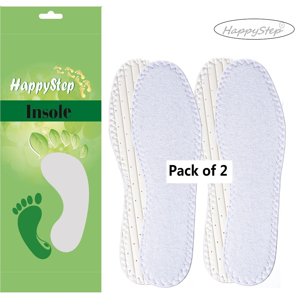 HappyStep® 2 Pairs Terry Insoles, Barefoot Insoles, Maxmize Sweat Absorption, No More Sweat Foot, Washable and Reusable (US Women Size 8)