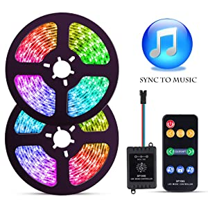 LED Strip Lights with Music Sync-Chase Effect, Dream Color Music lights 32.8ft, 5050SMD RGB Rope Lights with RF Remote, 12V Power Supply, 300LEDs Splash Proof Flexible String Lights for Indoor Bedroom