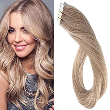 Laavoo 16zoll Skin Weft Tape Extensions Aschblond Farbe 18