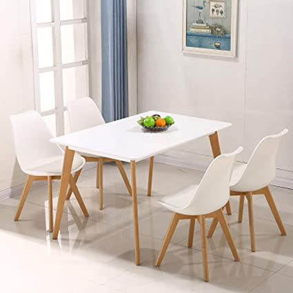 13043d135217b Homy Grigio Dining Chair DSW Dining Chairs Upholstered Side Chairs Mid  Century Modern Side Chairs with Beech Wood Legs, Set of 4 (White)