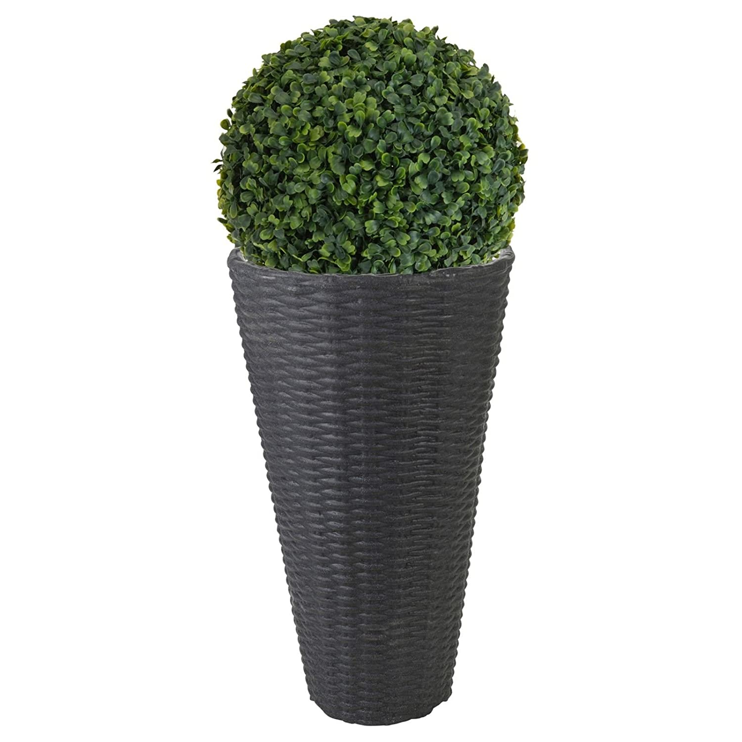 URBN Living Round Charcoal Grey Plant Pot With Artificial Grass Dome Ball EASYGIFT