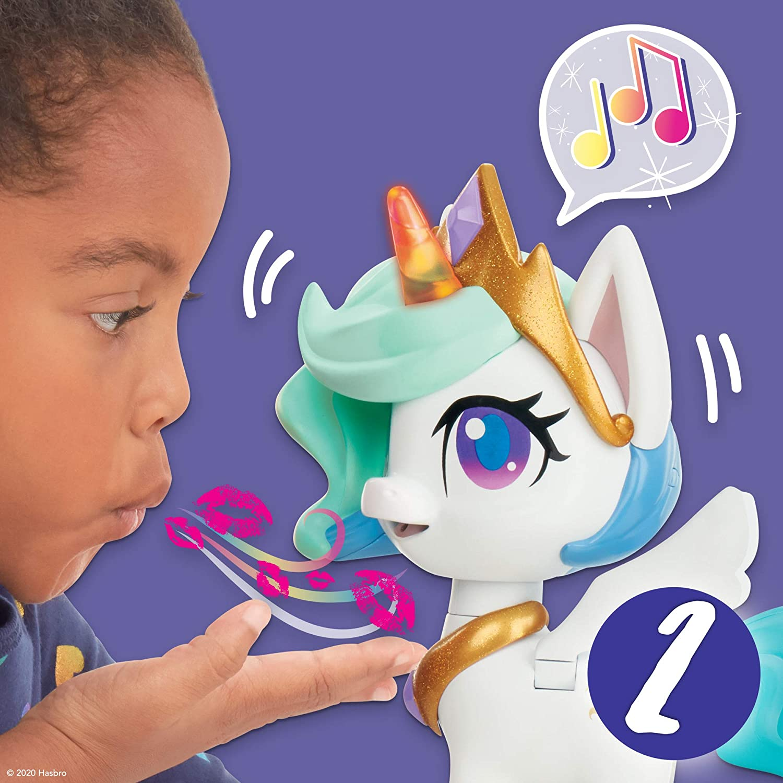 Ilumina My Little Pony Magical Kiss Unicornio Princesa Celestia Figura de Unicornio Interactivo con 3 sorpresas Juguete Infantil Musical Que se Mueve