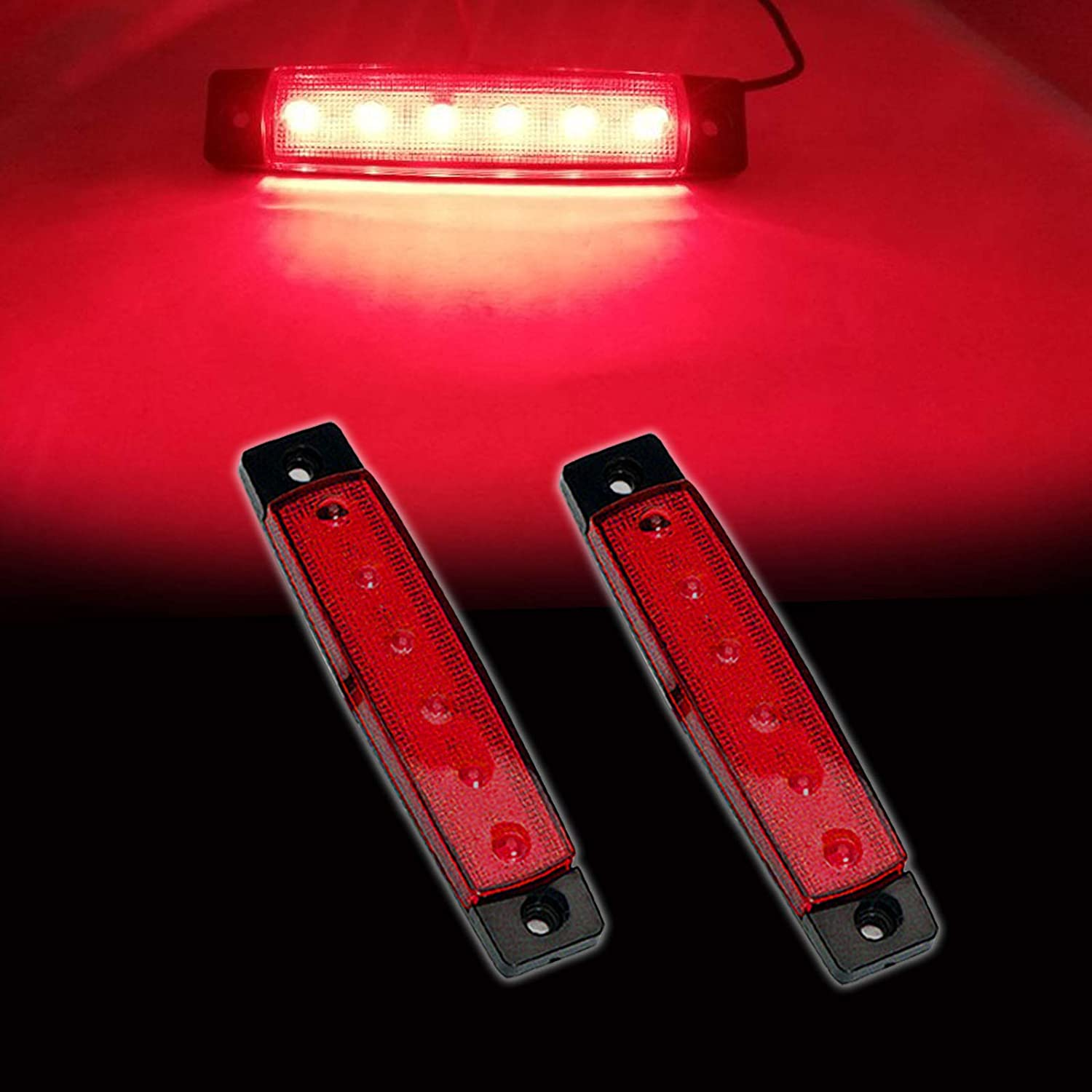 NBWDY 2PCS Marine Led Utility Strip Lights,Pontoon Boat Kayak Led Lights,Led Boat Lights Waterproof Night Fishing for Inflatable Rafts, 12v Boat Deck Light Strips (Red)
