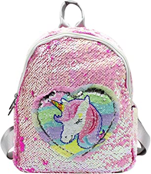 Unicorn Backpack 2 Way Sequin Girls Bag School Mini Travel Pink  With Lunch