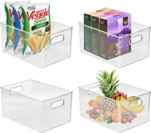 Sorbus Storage Bins Clear Plastic Organizer Container Holders with Handles – Versatile for Kitchen, Refrigerator, Cabinet, Food Pantry, Bathroom Organization (Pack of 4)