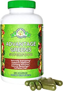 Super Greens Superfood Organic Nutrient Rich Energy Promoter - Wheat Grass, Barley Grass, Spirulina, Spinach, Chlorella, Beets, Kale - Advantage Greens High Absorption Powder CHF Supplement (150 Cap)